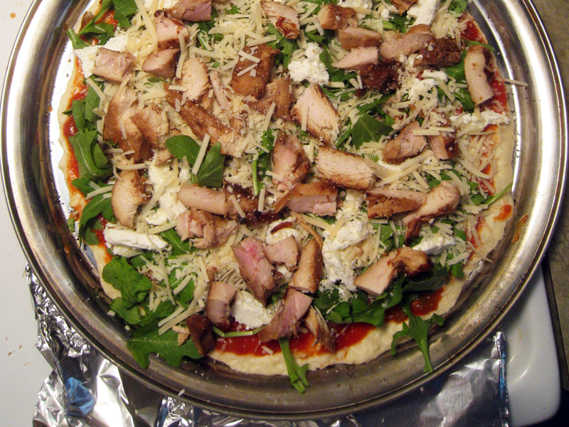 Goat Cheese and Arugula Pizza (with Chicken) | Man Fuel - a food blog