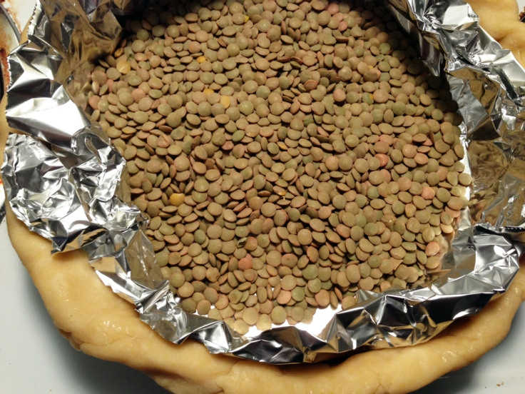 I ran out of dried beans, so I just used a bag of lentils I had lying around. They worked perfectly well!