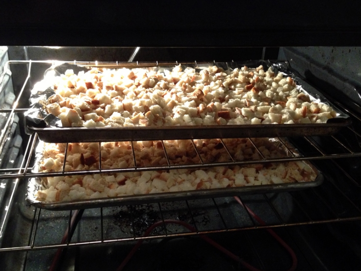 Toasting Bread Cubes for Stuffing