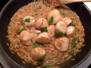 Scallops Added to Orzo Risotto with Parsley