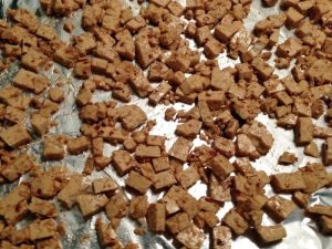 Raw Spicy tofu Ready for Baking