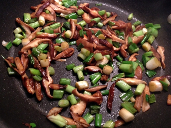 Sauteed Shitake Mushrooms and Scallions for Tofu Lettuce Wraps