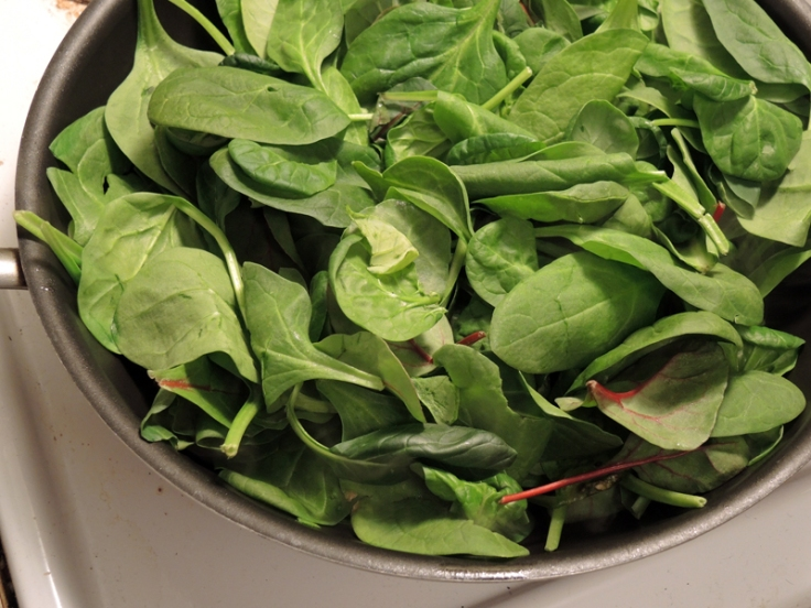 Wilting Greens in a Pan
