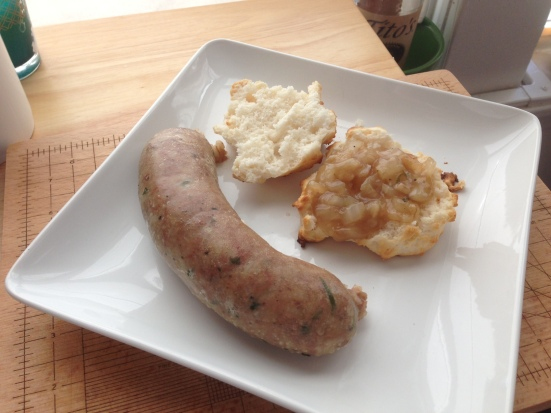 Boudin Link Simmered in Beer with Bourbon Gravy by Man Fuel Blog