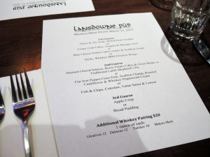 Lansdown Pub Event Menu