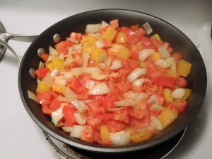 Sauteeing Tomatoes Peppers and Onions for Pasta Primavera