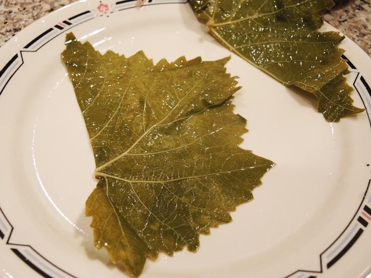 Grape Leaf Cut in Half Before Stuffing