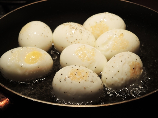 Hard Boiled Eggs Frying