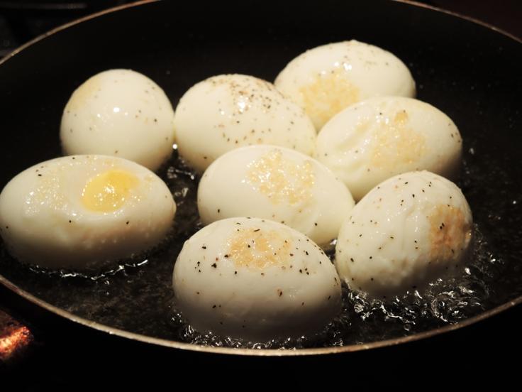 Hard Boiled Eggs Frying