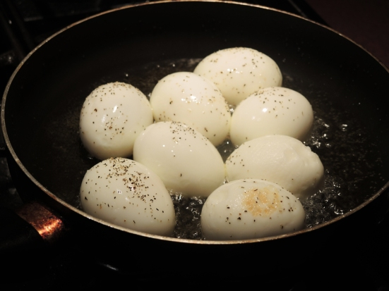 Hard Boiled Eggs in Frying in Oil