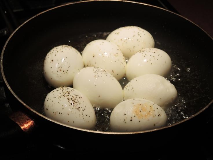 Hard Boiled Eggs in Frying in Oil