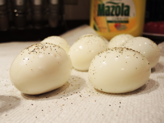 Hard Boiled Eggs Rolled in Black Pepper