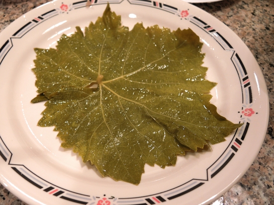 One spread out grape leaf