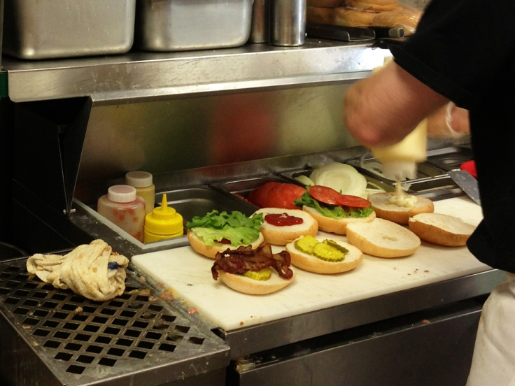 Burger Assembly at Ted's Famous Steamed Burgers
