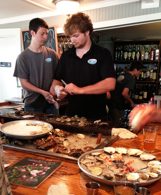 Shucking Oysters in Matunuck Oyster Bar
