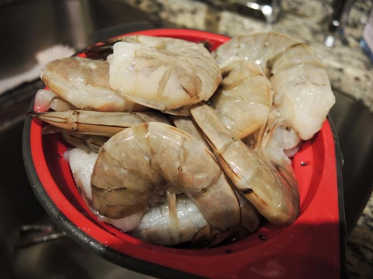 Rinsing Off Jumbo Shrimp