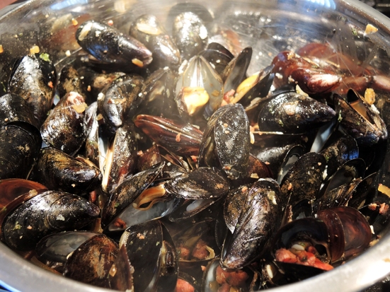 Steamed Mussels with Chourico Sauce by Man Fuel