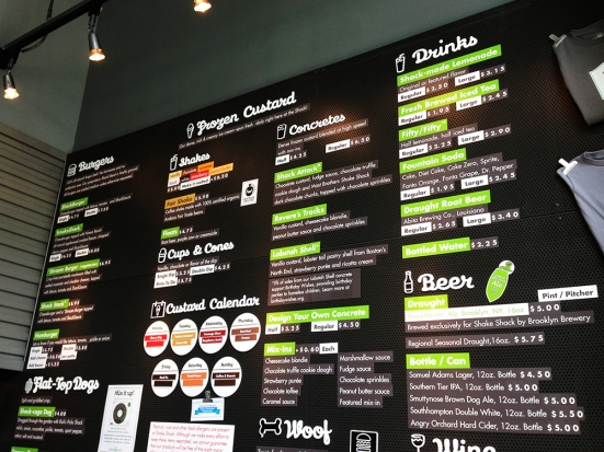 Shake Shack - Chestnut Hill MA - Menu