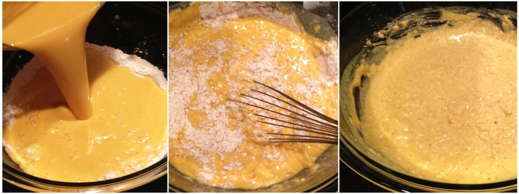 Mixing Buttermilk Pancake Wet and Dry Ingredients