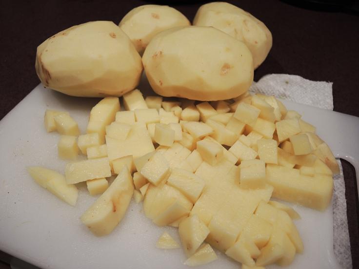 Chopped Potatoes for Man Fuel's Potato Leek Soup