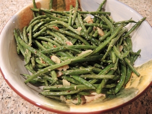 Man Fuel Food Blog - Green Beans Roasted with Garlic and Almonds