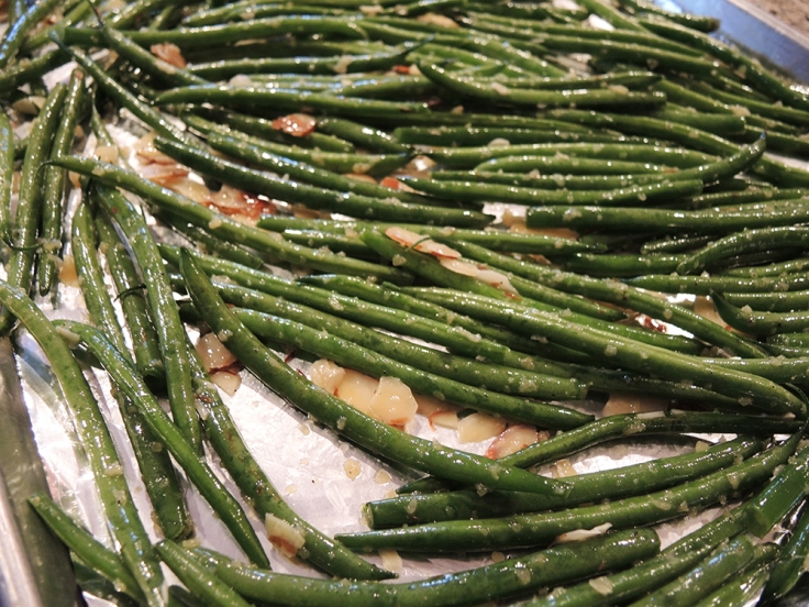 Man Fuel Food Blog - Roasting Green Beans with Garlic and Almonds