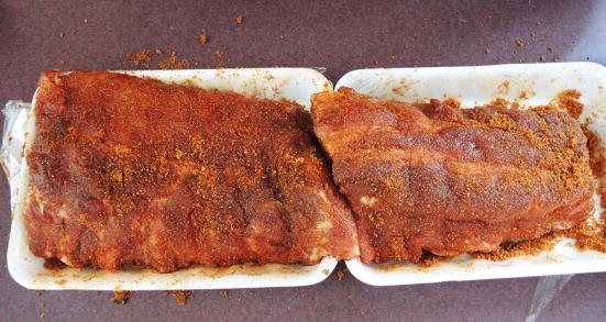 Man Fuel Food Blog - Coating Baby Back Ribs in Dry Rub