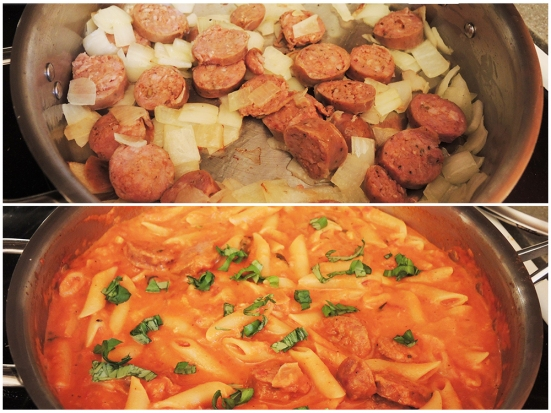 Man Fuel - Food Blog - Kayem Sweet Sausage sauteed with Pasta Sauce