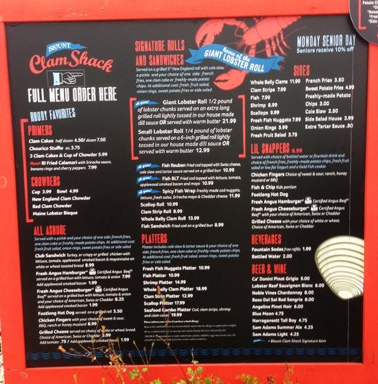 Man Fuel - food blog - Blount's Clam Shack Menu - Warren, RI
