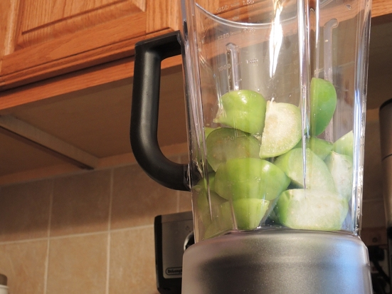Man Fuel - food blog - Sliced Tomatillos in Blender