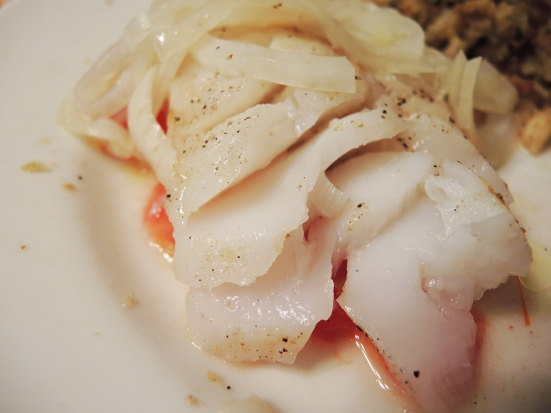 Man Fuel - food blog - Perfectly Flaky Baked Cod Loin Fillet with Tomato, Onion, and Cumin