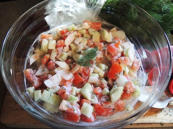 Man Fuel - food blog - Tomato Cucumber Onion and Dill Yogurt Summer Salad