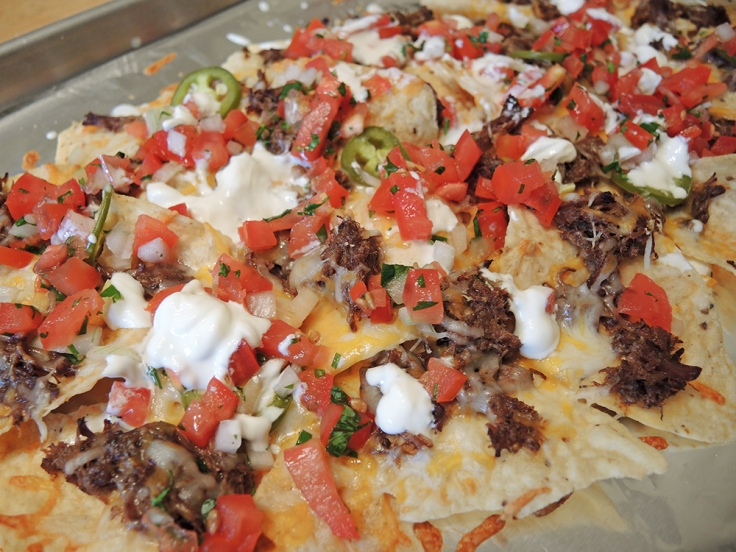 Man Fuel - Food Blog - Nachos Topped with Beer Simmered Shredded Beef