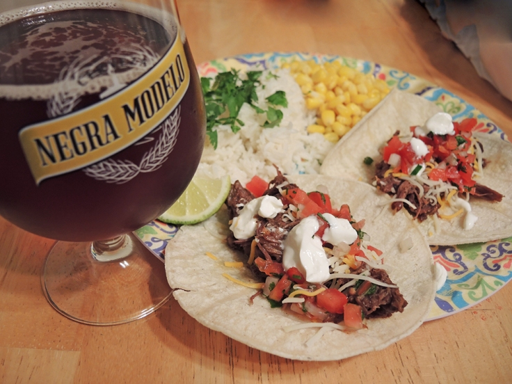 Man Fuel - Food Blog - Negra Modelo Paired with Shredded Beef Tacos