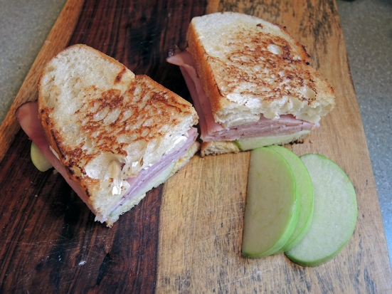 Man Fuel Food Blog - Delicious Toasted Ham, Brie, and Apple Sandwich