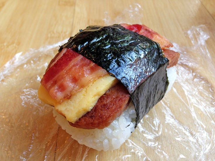 Man Fuel - food blog - Musubi Cafe Iyasume - Waikiki, Hawaii - Spam Musubi with Bacon and Egg