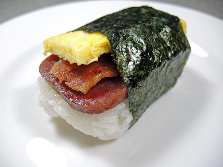 Man Fuel Food Blog - Spam Musubi Recipe - Breakfast Spam Musubi with Egg and Bacon