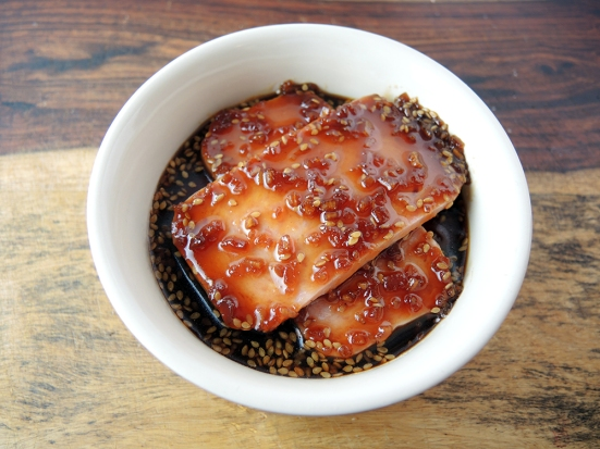 Man Fuel Food Blog - Spam Musubi Recipe - Spam Marinating in Teriyaki Sauce