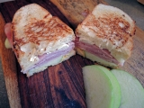 Toasted Ham, Brie, and Apple Sandwich with Honey Mustard Sauce