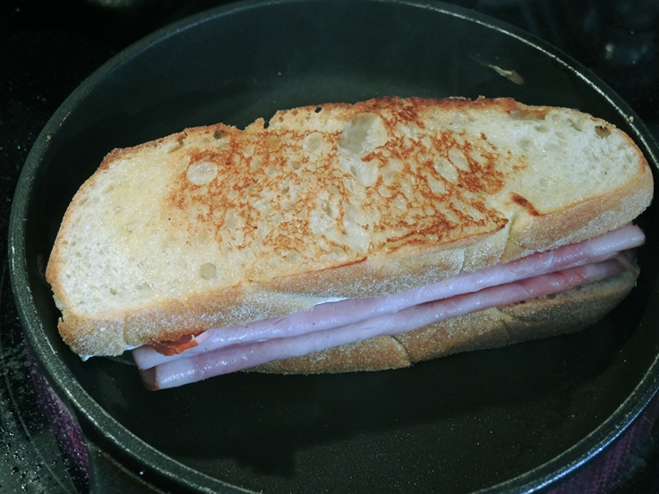 Man Fuel Food Blog - Toasting a Ham, Brie, and Apple Sandwich