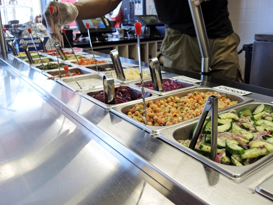 Man Fuel - Food Blog - Amsterdam Falafel Shop - Boston, MA - Self-Serve Toppings