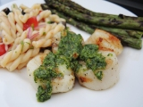 Grilled Scallops with a Cilantro Pesto and Grilled Asparagus
