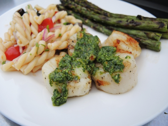 Man Fuel - Food Blog - Grilled Scallops with Cilantro Lime Pesto