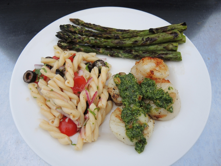 Man Fuel - Food Blog - Grilled Scallops with Cilantro Pesto
