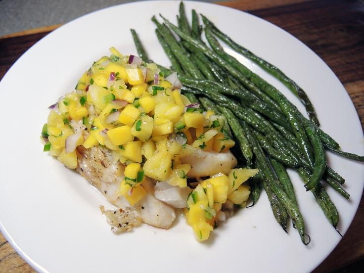 Man Fuel Food Blog - Mango Pineapple Salsa over White Fish
