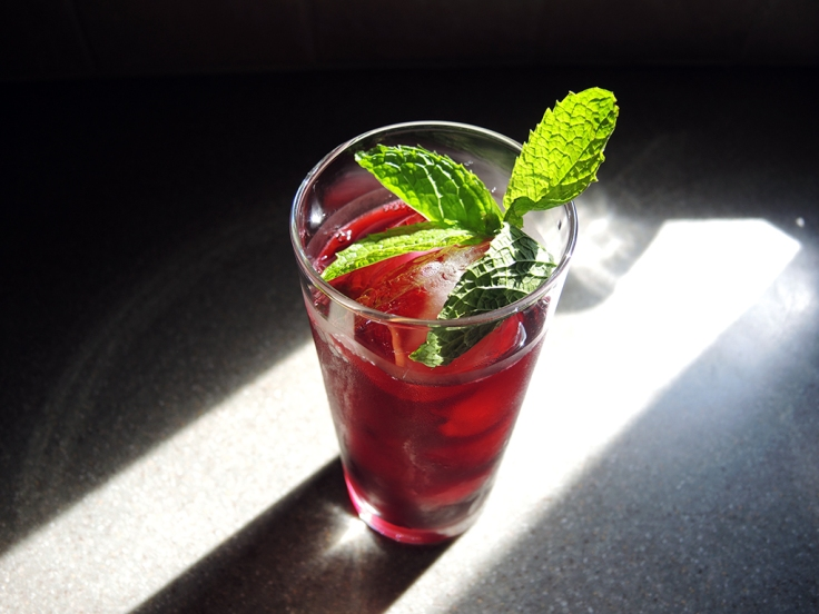 Man Fuel Food Blog - Karkade (Hibiscus Iced Tea) Garnished with Mint
