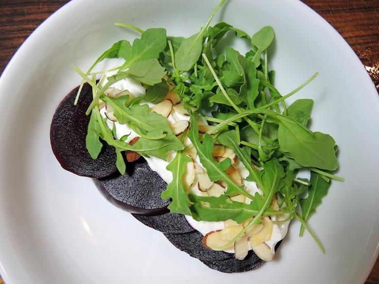 Man Fuel Food Blog - Beet Salad with Yogurt and Almonds and Arugula