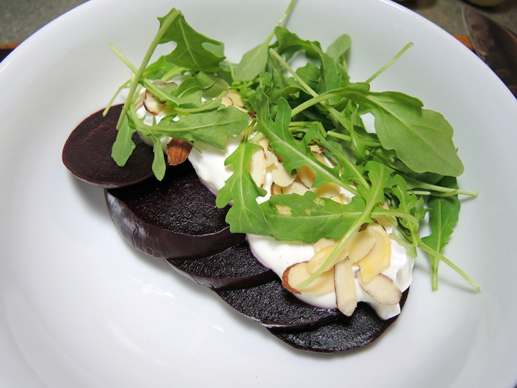 Man Fuel Food Blog - Persian Beet Salad with Yogurt and Almonds and Arugula