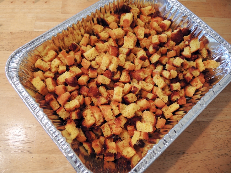 Man Fuel Food Blog - Cornbread Croutons for Stuffing