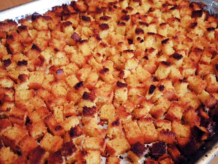 Man Fuel Food Blog - Toasted Cornbread Crouton Cubes